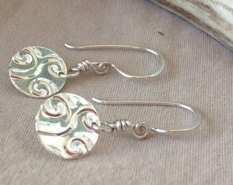 Swirl Earrings - Cloud Earrings - Circle Earrings - Disk Earrings - Round Earrings - Minimalist Earrings Gold, Silver, Copper, Antique Gold