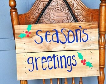 Christmas Decorations, Christmas Signs, Wood Signs, Hand Painted Wooden Signs, Season's Greetings, Hand Painted Wood Sign, Wooden Crate Sign