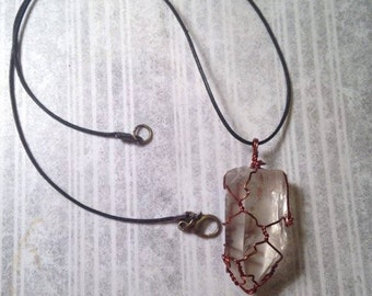 Wire Wrapped Clear Quartz  Necklace