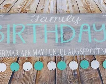 Family birthday board, family celebrations, hand painted wood sign, family sign, family birthday sign