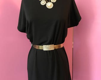 Classic shift dress, FAB 208 NYC shift dress, simple black tunic dress, black jersey dress, chic shift dress, off the shoulder dress, black
