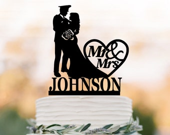 Police Wedding Cake toppers name and mr mrs, Police Man groom and bride silhouette cake topper with custom name  funny wedding cake topper