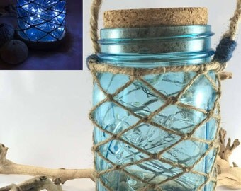 Mason jar lantern. Fairy lights. Hanging lantern. Indoor lighting. Outdoor lighting. Nautical decor. Blue mason jar. Rustic decor. Lantern.