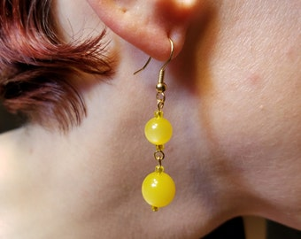 Gold and Yellow Glass Bead Earrings