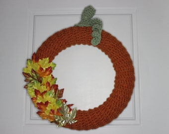 """12"""" Crocheted Pumpkin Wreath, Complete & Ready to Ship"""