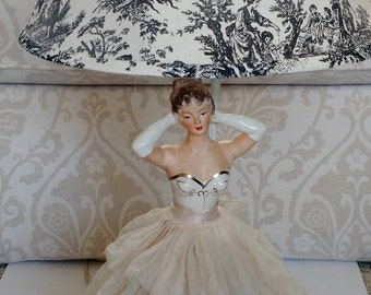 Vintage 1950's lamp, night light, lady lamp, glamour girl lamp, debutante, french toile lampshade