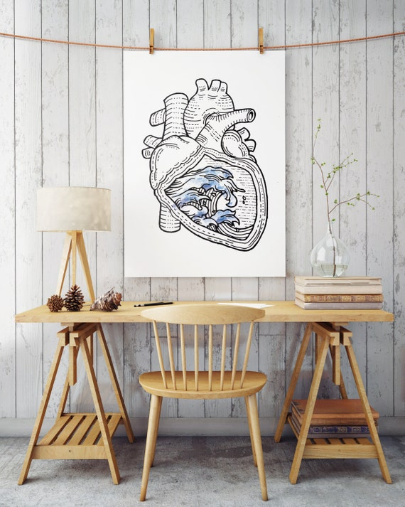 OCEAN HEART  | Wall art | poster art | printable art | art prints for sale | artwork | Posters | Artwork | Instant download | Ocean  sea art
