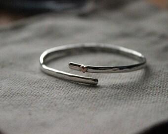 Handmade Sterling Silver Delicate Baby Bangle, Christening Bangle, Childrens bracelet, Baby bracelet, Heart bangle