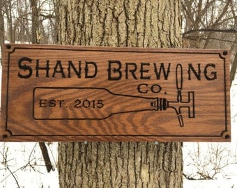 Engraved Brewing Beer Lover's Sign Custom Wood Sign, Personalized Wood Sign, Carved Wooden Signs, Custom Housewarming/Birthday Gift