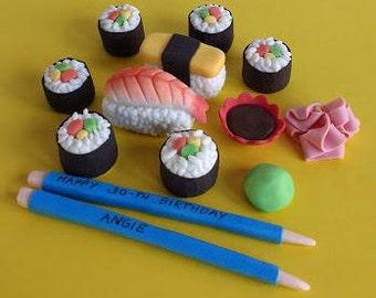 Handmade edible fondant sushi cake topper set
