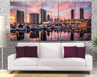 San Diego Wall Art, Cityscape Large Canvas Print, Cityscape Canvas Art, San Diego Skyline Art Print, City Wall Art, Night City Canvas LC014