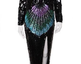 Vintage Cutouts Maxi Sequins Dress