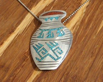 Tommy Singer Sterling Silver, Turquoise and Coral Chip Inlay Navajo Pendant