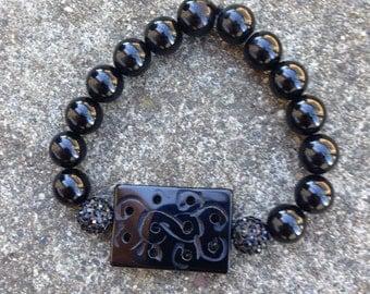 Beaded Bracelet (with Black Domino Tile)