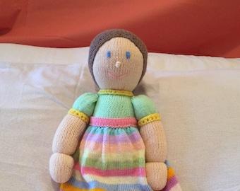 Rainbow Rosie Hand Knitted Doll