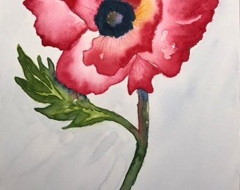The Lonely Poppy (handmade watercolor, unique item)