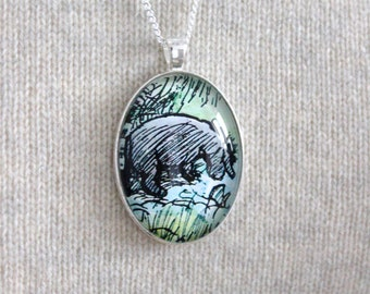 Winnie the Pooh, 'Eeyore' Classic Pooh Bear Book Page Necklace.