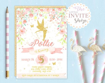 Girls Tinkerbell Fairy Invite | Birthday Party Invitation | Woodland Forest Flowers | Digital Download Customised Personalised | Printable