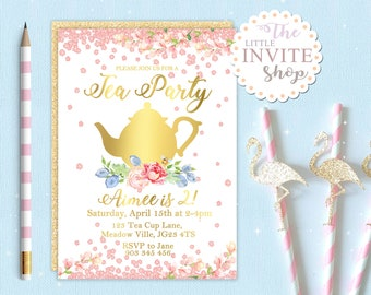 Girls Tea Party Invite | Birthday Party Invitation | Pink Floral Flowers | Digital Download Customised Personalised | Printable