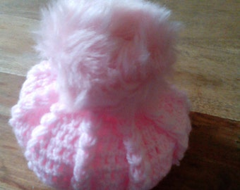 Baby Girl Beret Hat with Faux Fur Pompom