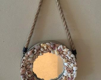 Beach mirror,small seashell mirror,Nautical Mirror,boat mirror,seashell mirror,small mirror, beach decor,coastal decor,sailing,6
