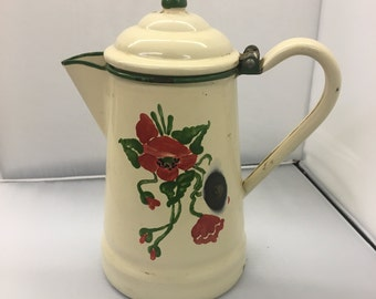 Painted Enamelware Coffee Pot
