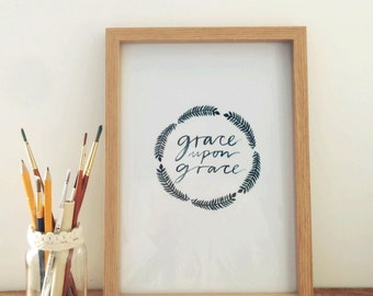 Grace upon Grace - Forest Green Fern Watercolour Print