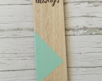 Laser cut Tasmanian Oak veneer Bookmark with pop of colour. Pray Always