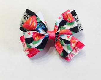 Pink and Black Boutique Hair Bow