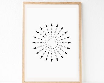 Geometric Print, Geometric Wall Art, Circle Art Print, Minimal Art, Graphic Art Print, Black Gray Art, Printable Art, Simple Art Print
