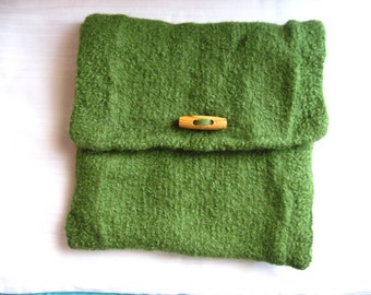 Felt bag Green knit clutch + felting wool wood toggle button party bag Pocket square
