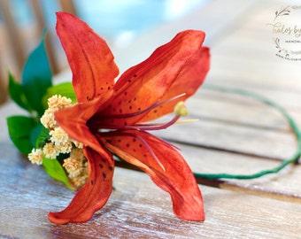 "The ""Janine"" floral halo crown // flower crown, orange wedding, orange flower headband, floral headpiece, head wreath, tiger lily, halo"
