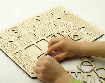 Wooden alphabet stencil for kids, Wooden toy, Natural puzzle toy, Wooden letters, Alphabet Game, Alphabet puzzle