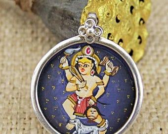 Miniature pendant. Silver pendant. Handame portrait pendant. Kali pendant. Silver Pendant with miniature of Kali. Pendant handpainted.
