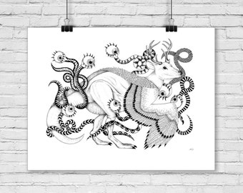 Poster deer chimera, black and white illustration, reproduction, A4, art, collection, poster, paper