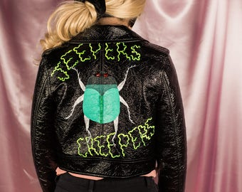 Jeepers Creepers Black Hand Painted Patent Leather Jacket