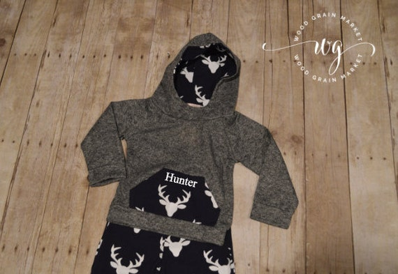 Personalized Baby Boy Toddler Boy Hooded Deer Outfit, Hunting Clothing Shirt and Pants