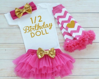 Half Birthday Girl, 1/2 Birthday Shirt, Six Month Birthday, Cake Smash Outfit, Half Birthday Girl Bodysuit, 6 Month Birthday Girl, Baby Gift
