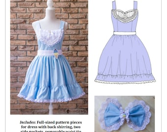 PDF L-3X Plus Lolita Sewing Pattern: #1105 Sweet Caroline JSK