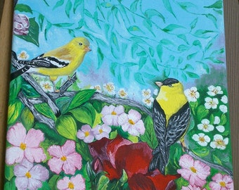 Yellow GOLDFINCH painting