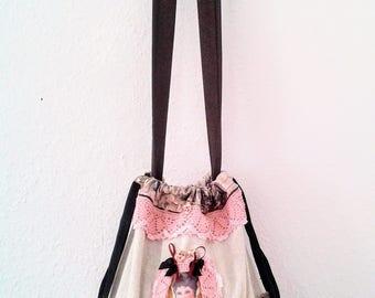 Canvas fabric bags, vintage boho bag, crossbody bag, shoulder bag, romantic crossbody bag, victorian pouch, romantic trimmed bag