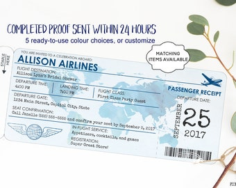 Boarding Pass Invitation CHOOSE COLOR Wedding Save the Date Printable Travel Airplane Party Baby Shower Child Birthday Bon Voyage WTAPPT
