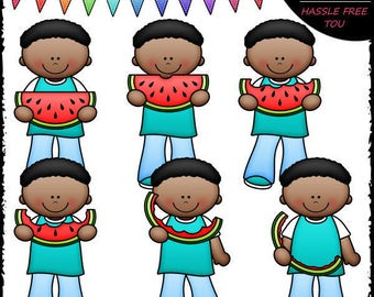 Josiah Eats Watermelon Clip Art and B&W Set
