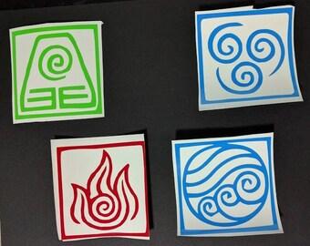 4 Avatar the Last Airbender Element Decals