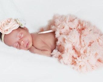 PEACH NEWBORN PETTISKIRT & Headband Set, Peach Pink Baby Tutu, Pink Baby Bow, Peach, Pink, Pettiskirt, Tutu, Newborn headband