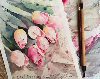 Watercolor tulips original painting