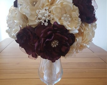 Bridal Fabric Flower, Brooch Bouquet, Pearl Rhinestone, Wedding
