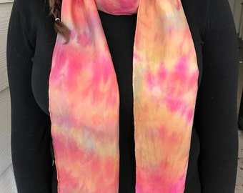 Pink and Orange Tie Dyed Silk Scarf