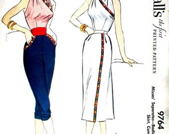 "Vintage 1950's Sewing Pattern Halter Top, Wrap Skirt, Cropped Pants B 32"" Rare Vixen Rockabilly"