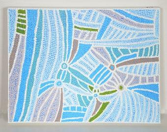 Dot Design, Aboriginal Style, Abstract Painting, Blue Taupe Decor, Blue Abstract, Dot Painting, Dot Design, Dot Art